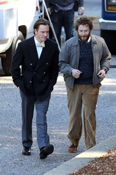 Michael Fassbender and Seth Rogen film scenes for 'Steve Jobs' in Cupertino, California. Fassbender portrays the late Apple cofounder Jobs while Rogen plays his collaborator Steve Wozniak.