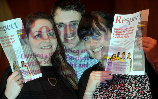 Members of the INTO LGBT Teachers group, left to right, Ciara Fagan, Dion O'Caoimh and Cecelia Gavigan