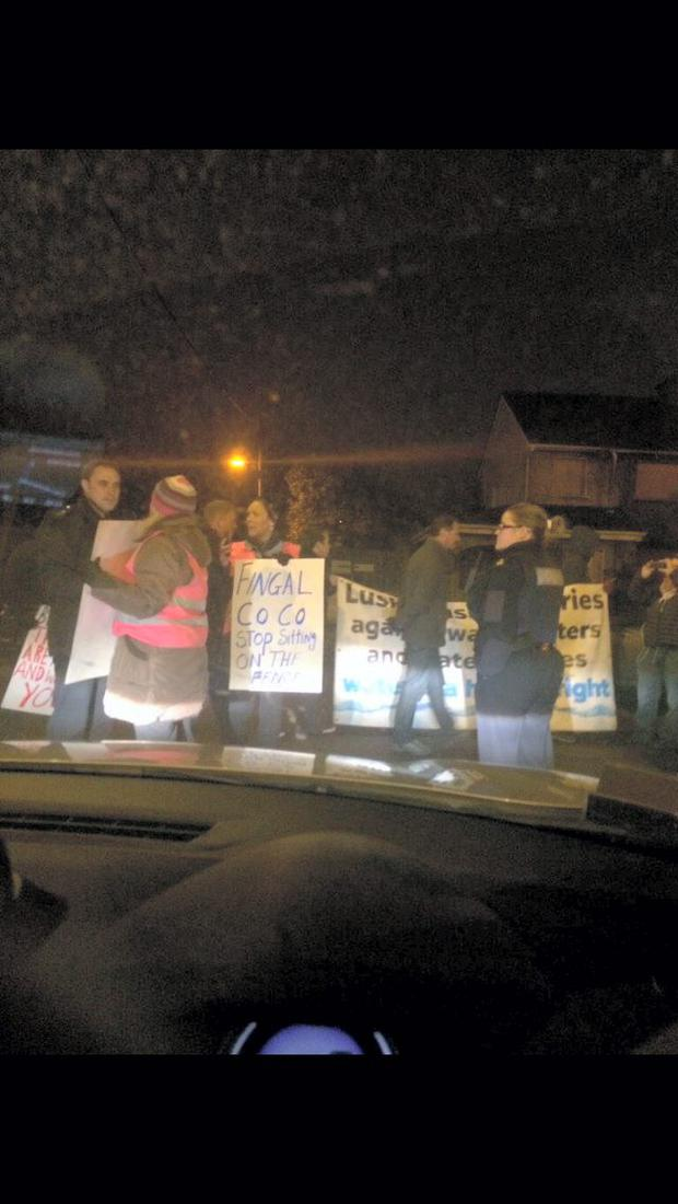 Protest at the gates of the Fingal County Council car park in Swords