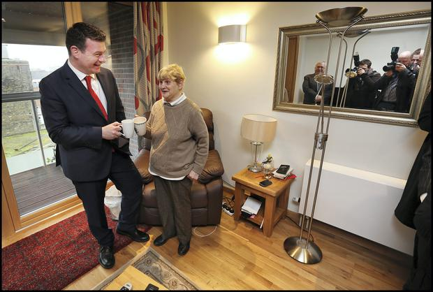 The newly refurbished Fr Scully House which was visited by Minister for Environment, Community and Local Government Alan Kelly TD where he spoke to resident Carmel Maher (68).