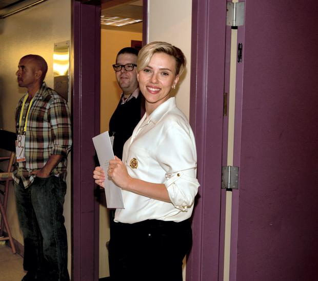 Scarlett Johansson seen backstage during rehersals for the 2015 Oscars at the Dolby Theatre at Hollywood and Highland on February 19, 2015 in Hollywood, California