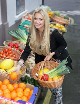 Rosanna Davison fills her basket with healthy fruit & veg at Select Stores in Dalkey pix Ronan Lang/Feature File