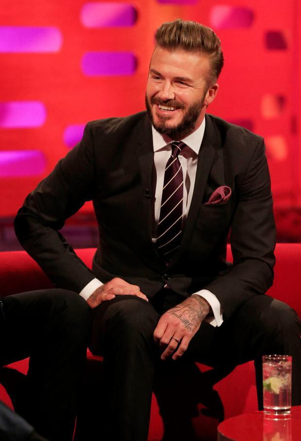 David Beckham during filming of the Graham Norton Show at the London Studios, in central London