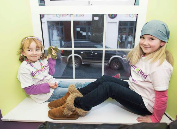 Lily Mae Morrison (6) and Aideen Conneely (8) at the launch of Hand in Hand, Ireland's first dedicated Children's Cancer support centre
