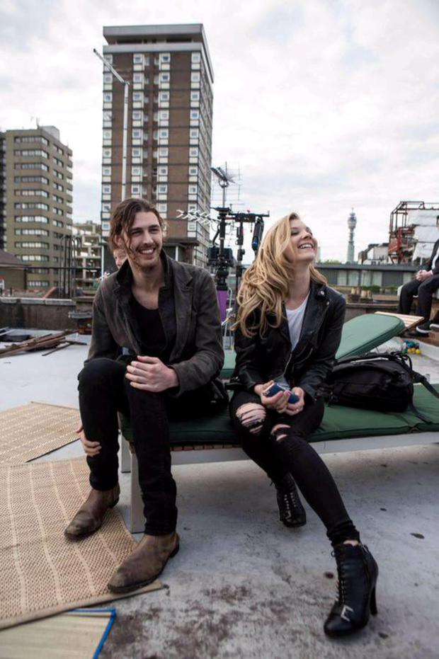 Hozier with Natalie Dormer on the set of his new music video