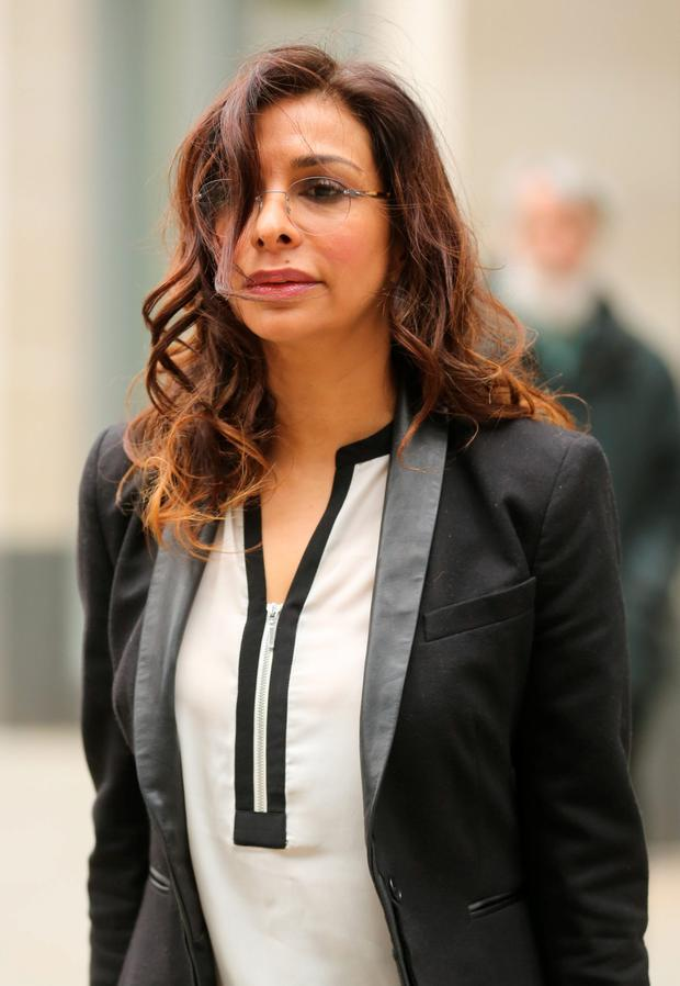 Shobna Gulati leaves The High Court, Rolls Building in London, where she was appearing as a witness during the phone hacking civil case. PRESS ASSOCIATION Photo. Picture date: Monday March 9, 2015. See PA story COURTS Hacking. Photo credit should read: Chris Radburn/PA Wire