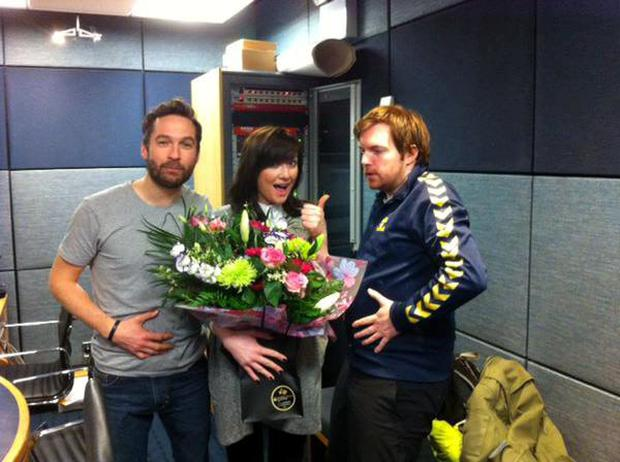 Jennifer Maguire with her Breakfast Republic co-presenters KeithWalsh (left) and Bernard O'Shea on her last day at work