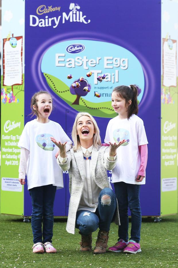 Pippa O' Connor was joined by twins Grace and Sarah Thompson (7) to officially launch Cadbury's BIGGEST Easter celebration yet!