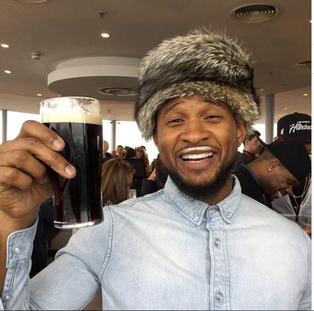 Usher and his pint of Guinness