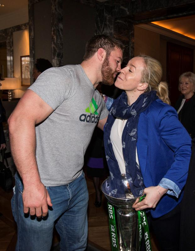 Ireland's winning captain Niamh Briggs is congratulated by Sean O'Brien at the Four Seasons hotel.