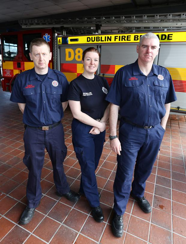Firefighters Philip Evans, Teresa Hudson and Paul Lavelle, who attended the delivery of a baby girl at The Nutgrove Fire Station, Rathfarnham last night.