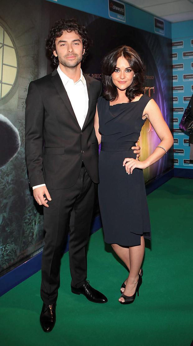 Aidan Turner with his girlfriend Sarah Greene