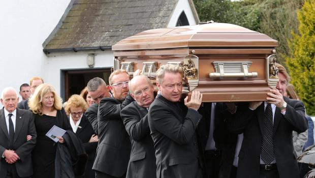 Funeral of Michael James Flately, father of Michael Flatley in the Church of St. Moling, Glynn, Co.Carlow.