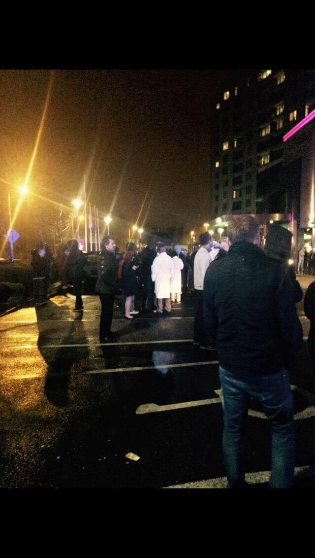 Emergency services at the Crowne Plaza Hotel Blanchardstwon where guests were evacuated in the early hours of 26/3/2015 Pic: Twitter