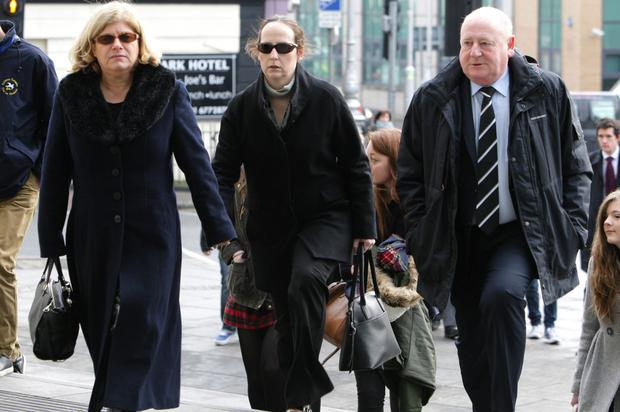 Victims father Frank O' Hara at court with his (L&R) partner Sheila Hawkins and daughter AnnCharles for the trial of Graham Dwyer