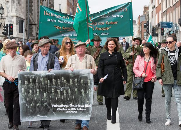 Sinn Féin Deputy Leader Mary Lou McDonald marching to mark the 99th anniversary of the 1916 Easter Rising.