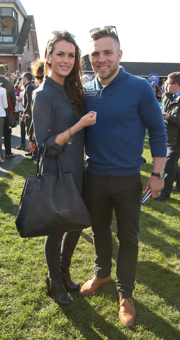 Ian Madigan with his girlfriend, Anna Kirwan at the Fairyhouse Easter Festival. Picture credit; Damien Eagers