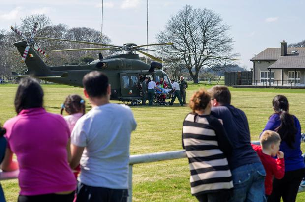 Air Corps crew in action on Monday