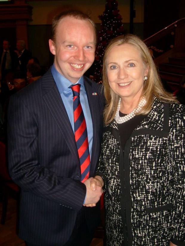 Cllr Noel Rock with Hillary Clinton