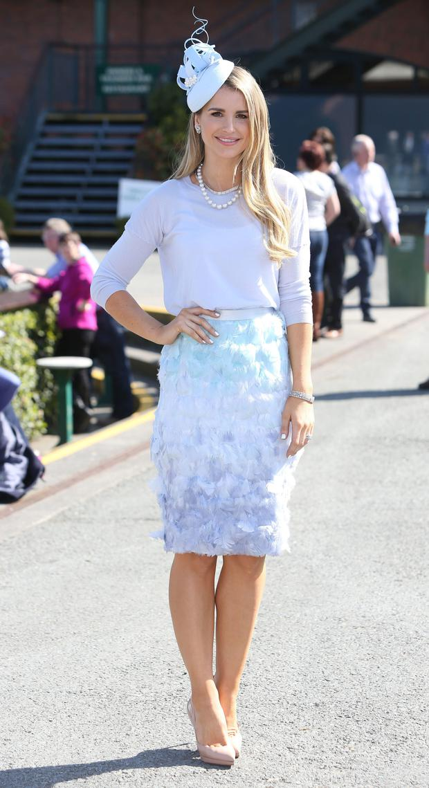 Model, Vogue Williams, who judged the most stylish lady at the Fairyhouse Easter Festival