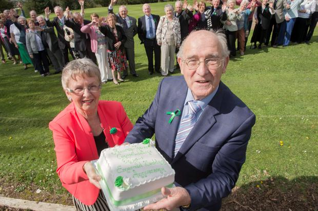 Cora and Richard Reidy from Bishopstown, Cork celebrate their 'Emerald' 55th Wedding anniversary along with 19 other couples in Frankfield, Cork