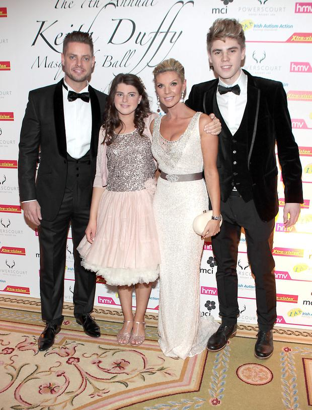 Keith Duffy,Lisa Duffy with kids Mia Duffy and Jay Duffy pictured at Keith Duffy's Masquerade Ball at The Powerscourt Hotel in Enniskerry in aid of Irish Autism Action and Saplings School Rathfarnham