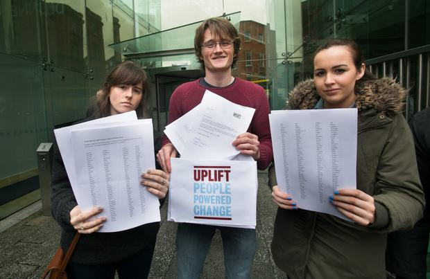 Emma Jane Geraghty Richard Duggan & Michelle Mooney handing in a 10,000 strong petition delivered to Dunnes Stores HQ