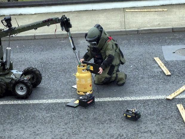 Garda are investigating an attempted Ulster Bank ATM robbery in Castleblaney, Co. Monaghan in the early hours of the morning of 15/4/2015 The army bomb squad were called to inspect a suspect device.