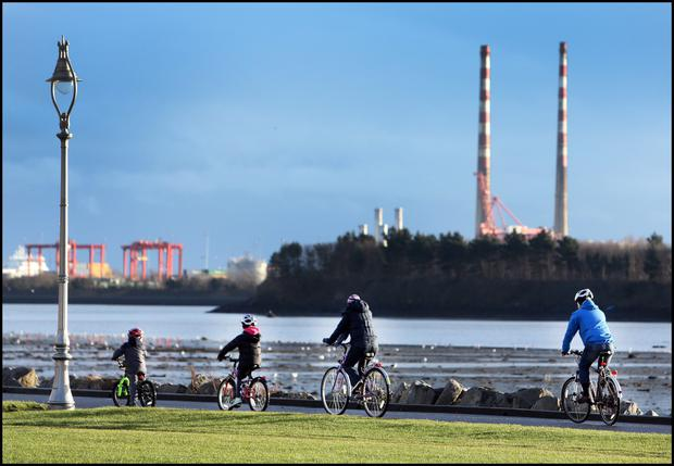 Cyclists on Clontarf seafront