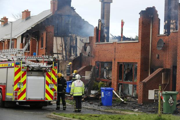 The scene of the fire at The Millfield Manor Estate, Newbridge, Co. Kildare this morning