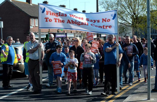 West Finglas Tenants and Residents Association and supporters protest march to the Abigail Centre from WFTRA Community Centre