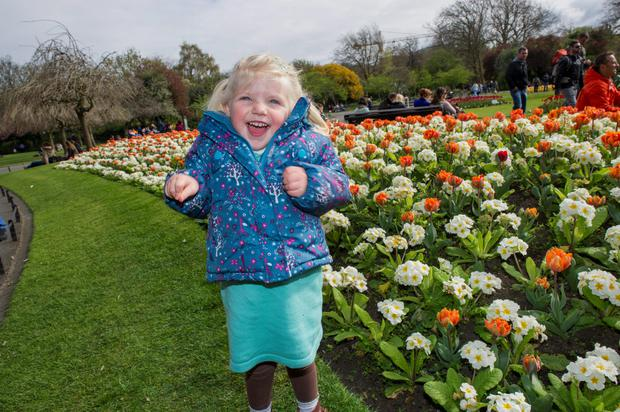 Lottie Swearingen (2) having a ball in Stephen's Green