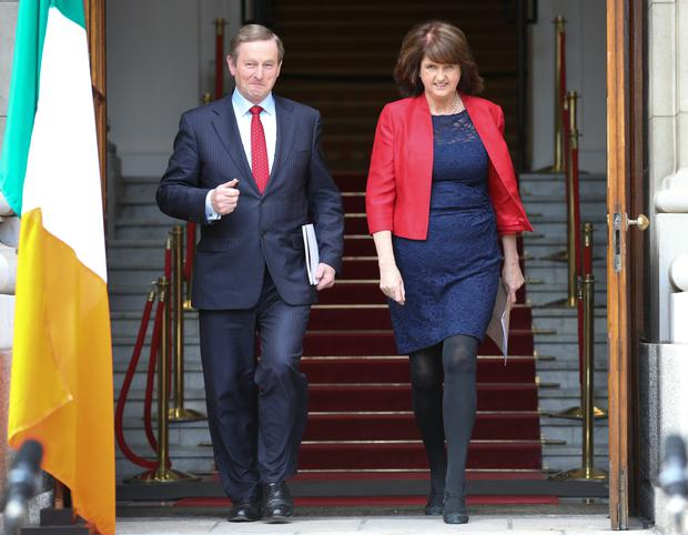 Taoiseach Enda Kenny pictured with Tanaiste and Minister for Social Protection Joan Burton