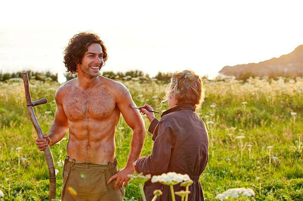 Aidan Turner goes topless in Poldark