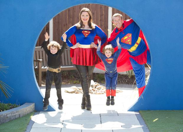 Leo Richardson (5), Joe Richardson (4) and TV3 hosts Alan Hughes and Elaine Crowley get into superhero mode for charity.