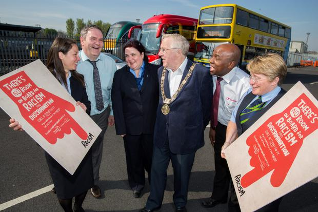 From left: Katarzyna Carville from Bus Eireann, Gerard Brohan, a taxi driver from Wexford, Ingrid Costica, Dublin Bus, Lord Mayor of Dublin Christy Burke, Sammy Akorede, Luas, and Jacqui Reid, Irish Rail.