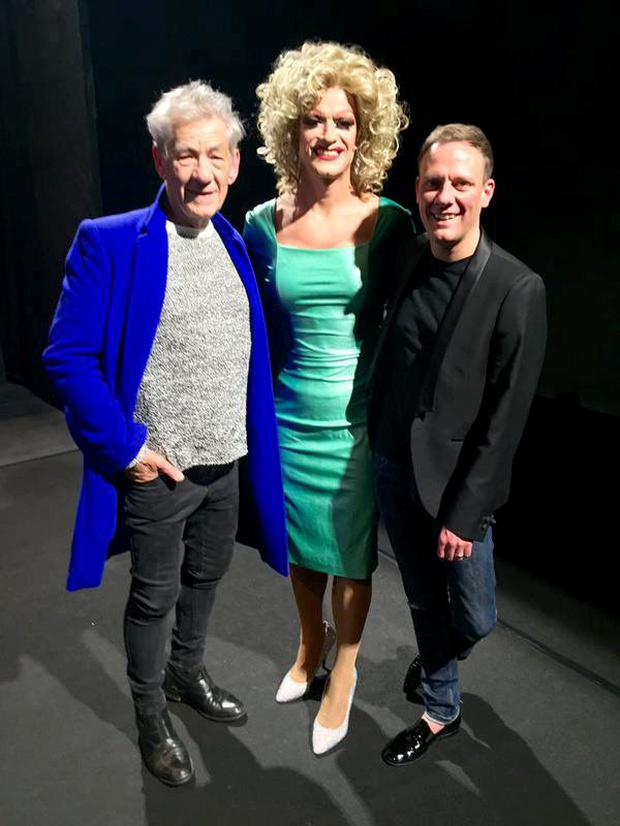 Ian McKellen, Panti and Antony Cotton at drag show in Panti Bliss