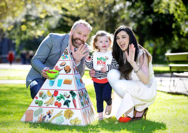 Daithi O Se with wife Rita and son Michael Og at the launch of Toddlebox, a new toddler nutrition campaign