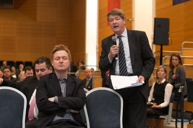 29/04/2015 Blake O' Donnell & Solicitor Brian O'Donnell during Bank of Ireland's AGM at O' Reilly Hall UCD , Dublin. Photo: Gareth Chaney Collins