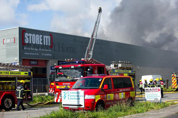 Dublin Fire Brigade fighting a blaze at the scene of a large fire in Ballymount