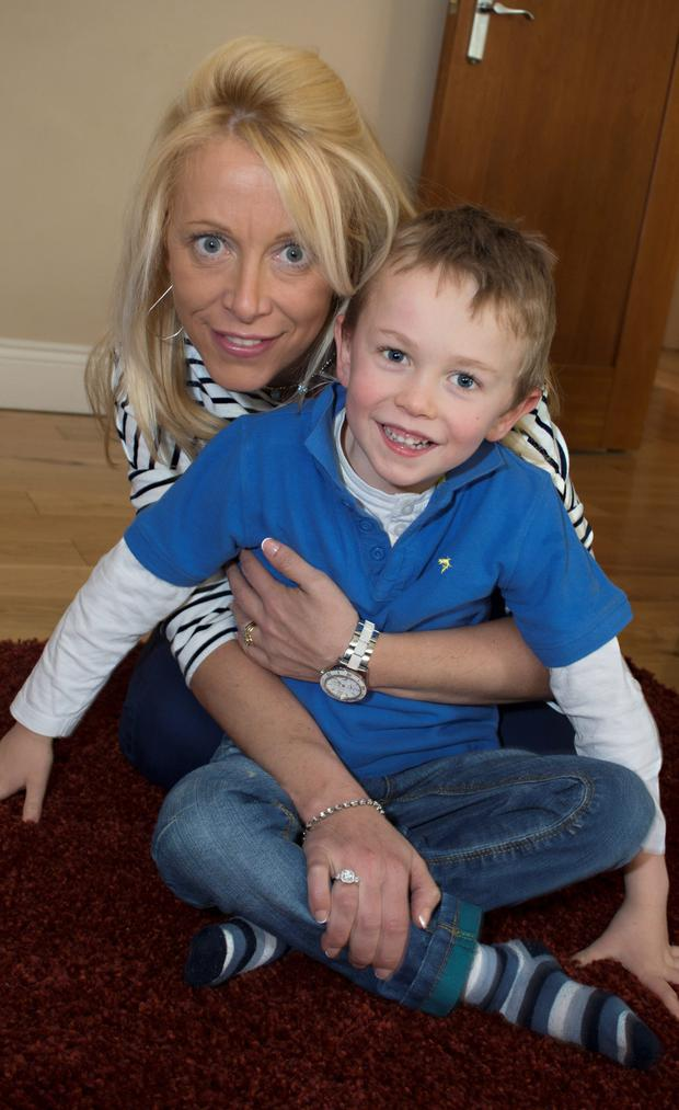 Mary Courtney and her son Darragh (5) pictured at their Kimmage home yesterday.