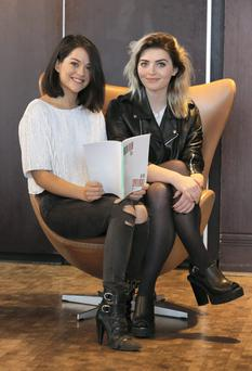 Actors, Sarah Green, left and Tara Lee, pictured after a press conference where the Irish Film Board highlighted new film titles coming through for 2015 and provided an overview of the key highlights for Irish film, television and animation in Ireland during 2014