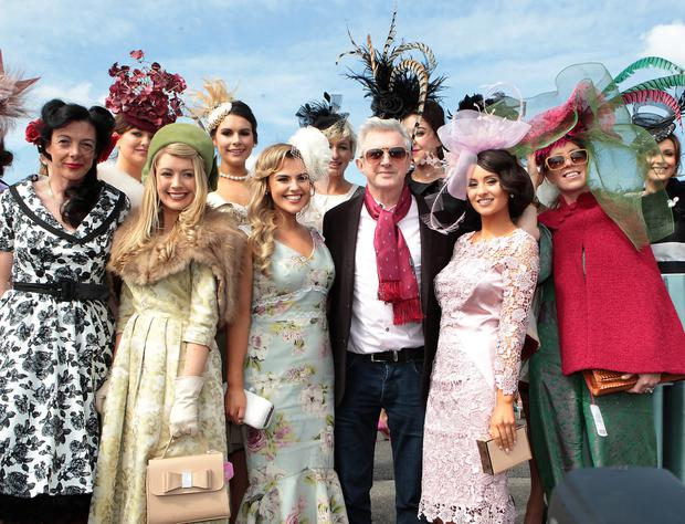 Louis walsh and ladies at the final of the Best Dressed Competition at Gold Fever Ladies Day at The Punchestown Festival 2015