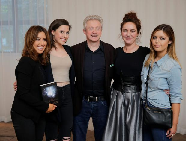 Louis Walsh with Morah Ryan and her daughters, Lottie, Babette and Bonnie at the launch of David Blake Knox book Ireland the Eurovision at the Spencer Hotel in Dublin.