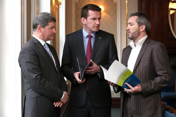 Discussing the city drugs problem were Richard Guiney, CEO of Dublin Town, Aodhan O Riordan TD and Dr Johnny Connolly