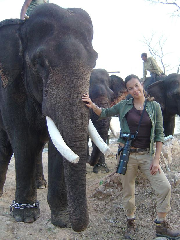 Liz gets to grips with an elephant