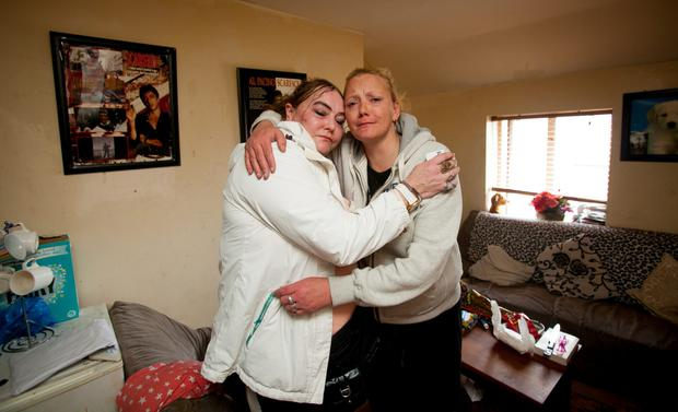 Lorraine Donovan & Mary Fleming who live in a housing complex in Kelly's Row, Dublin where people living their are facing eviction.
