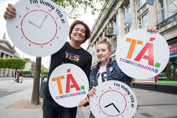 Saoirse Ronan pictured with Eamon Farrell at the launch the Yes Equality Your Yes Matters campaign under the clock at Clerys on O'Connell Street. She is encouraging people to get out and vote Yes in the Marriage Referendum on May 22.
