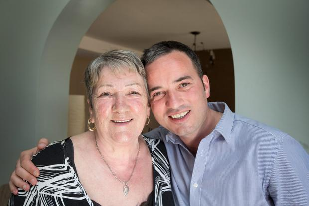 Labour TD John Lyons pictured with his Mother Josie at his Ballymun home yesterday.