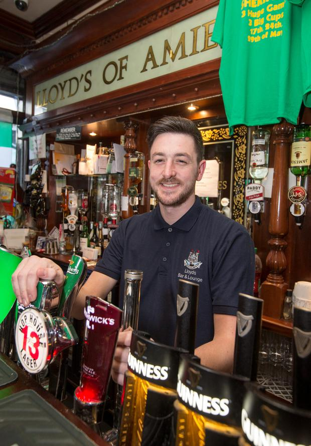 Barman Aaron Caffrey pictured at Lloyds of Amiens Street